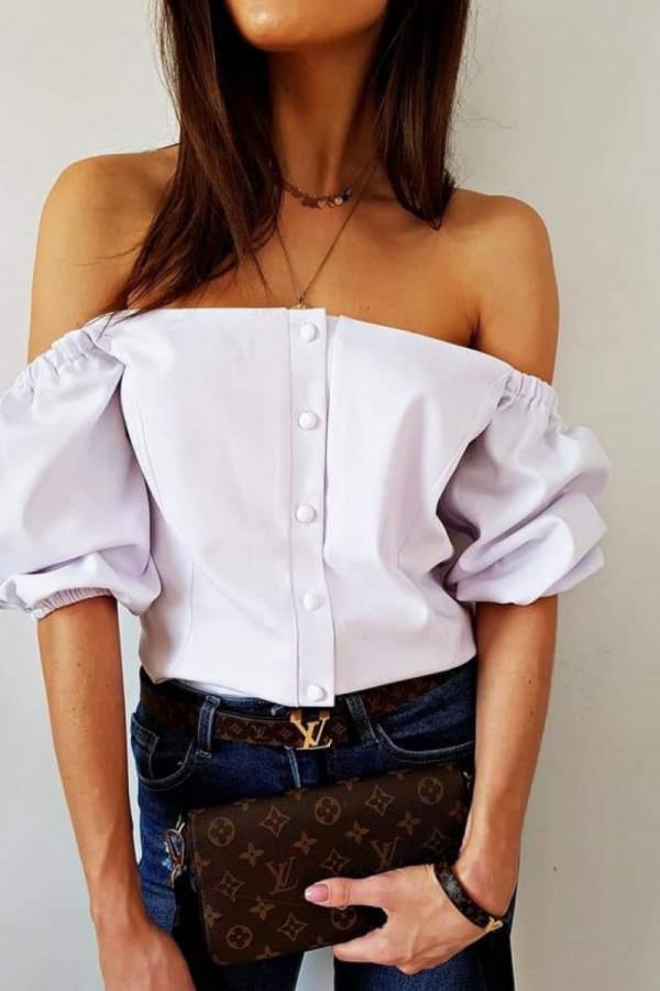 Bluzka biała z guzikami Lou