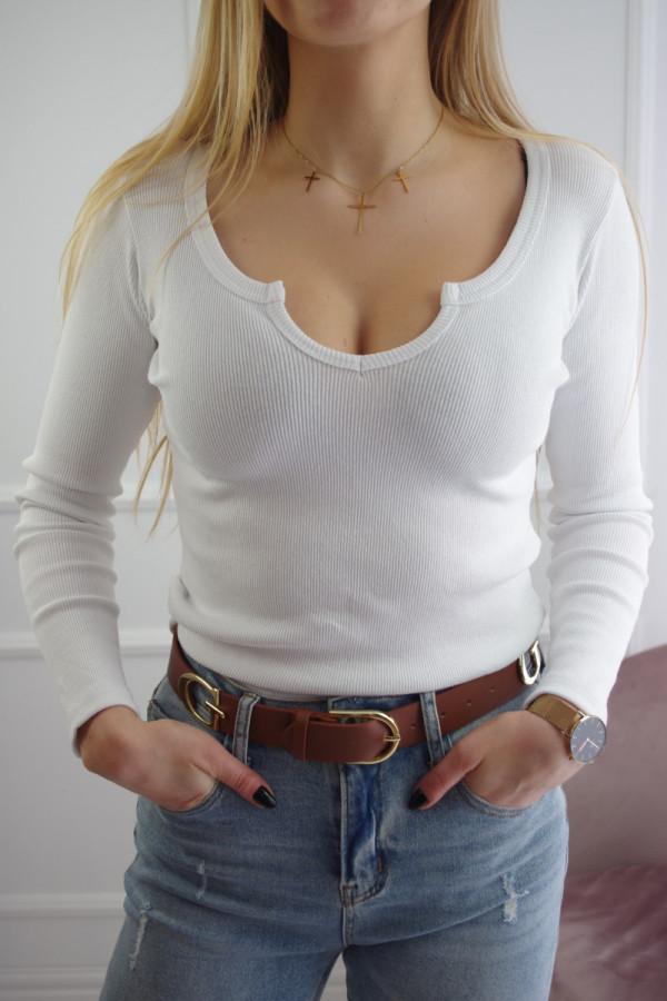 Bluzka biała z dekoltem Tear