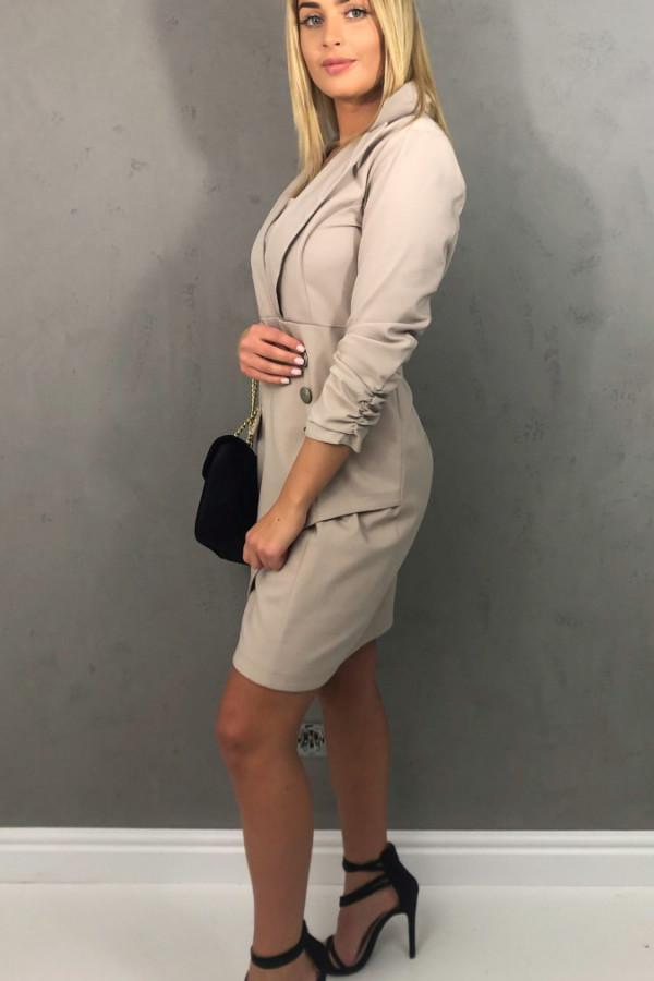 Sukienka z guzikami beżowa 4