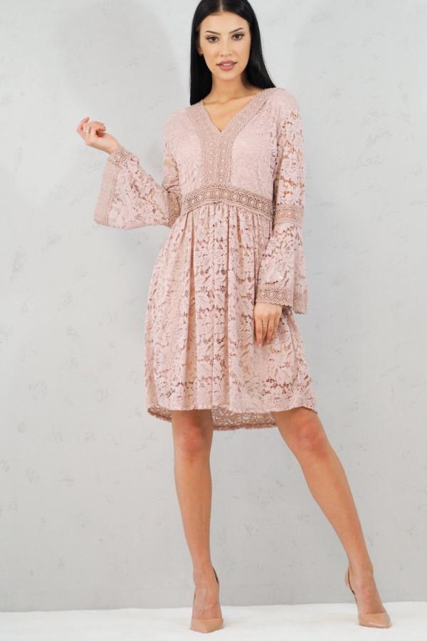 sukienka różowa koronka
