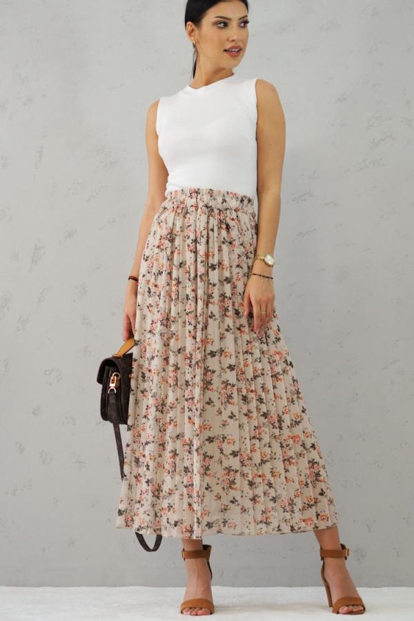 Długa spódnica beżowa w kwiatki