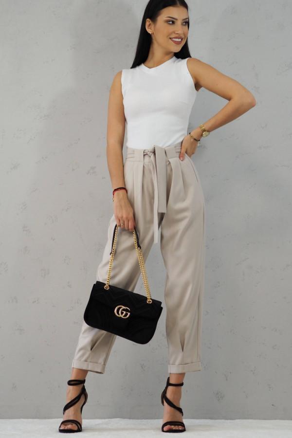 Beżowe Spodnie z paskiem III 1