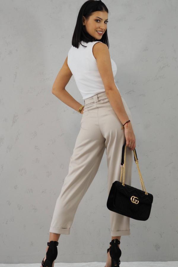 Beżowe Spodnie z paskiem III 2