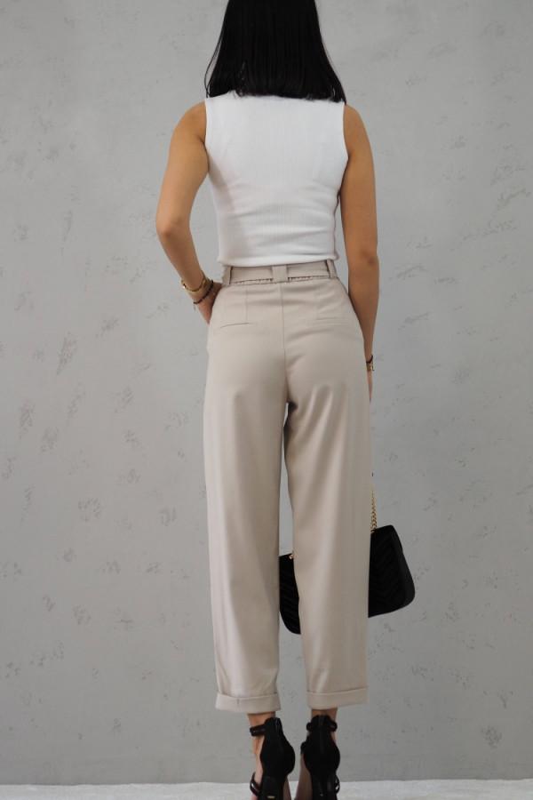Beżowe Spodnie z paskiem III 3