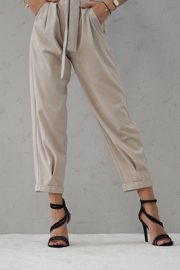 Beżowe Spodnie z paskiem III 6