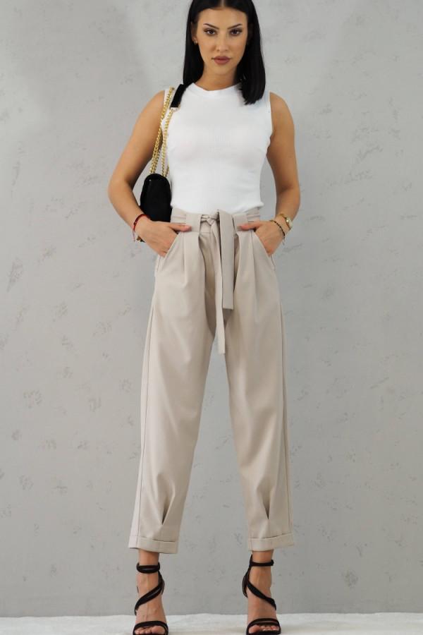 Beżowe Spodnie z paskiem III 8