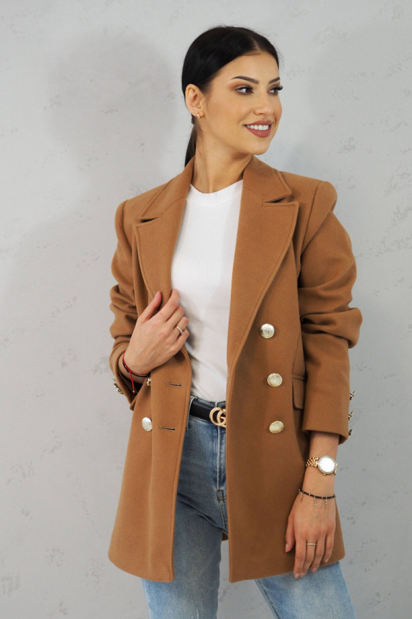 Płaszcz brązowy z guzikami Suzanne