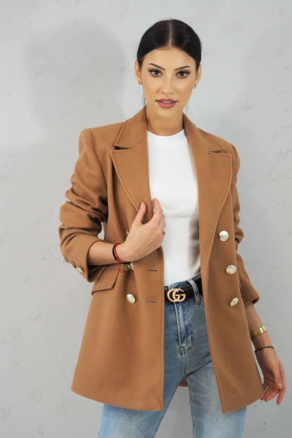 Płaszcz brązowy z guzikami Suzanne 1
