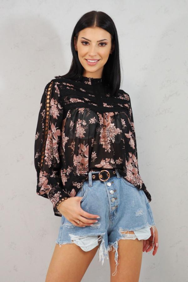Koszula z kwiatami czarna Blanche