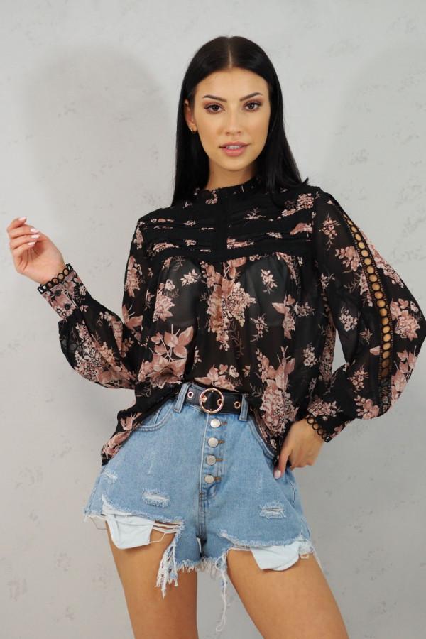 Koszula z kwiatami czarna Blanche 1