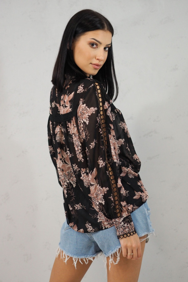 Koszula z kwiatami czarna Blanche 2