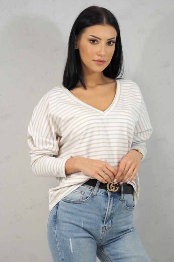 Bluzka w beżowe paski