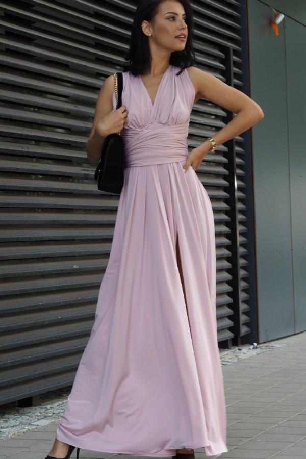 Długa świecąca sukienka wieczorowa