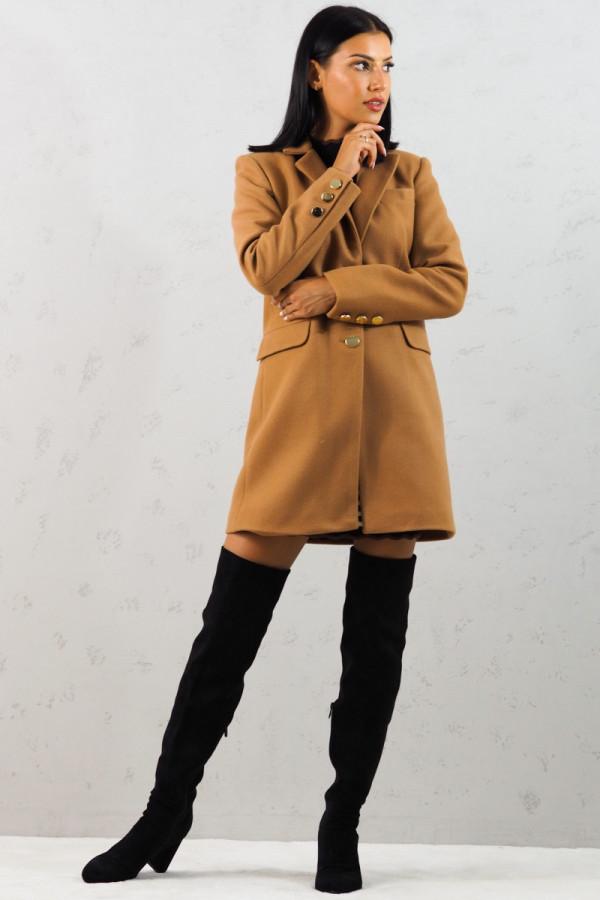 Płaszcz brązowy z guzikami Aline 1