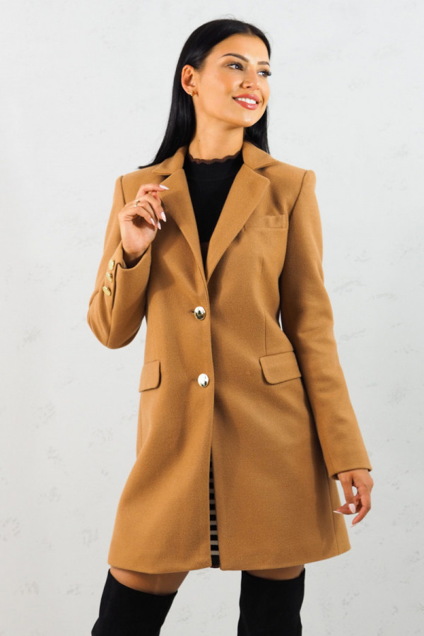 Płaszcz brązowy z guzikami Aline 2