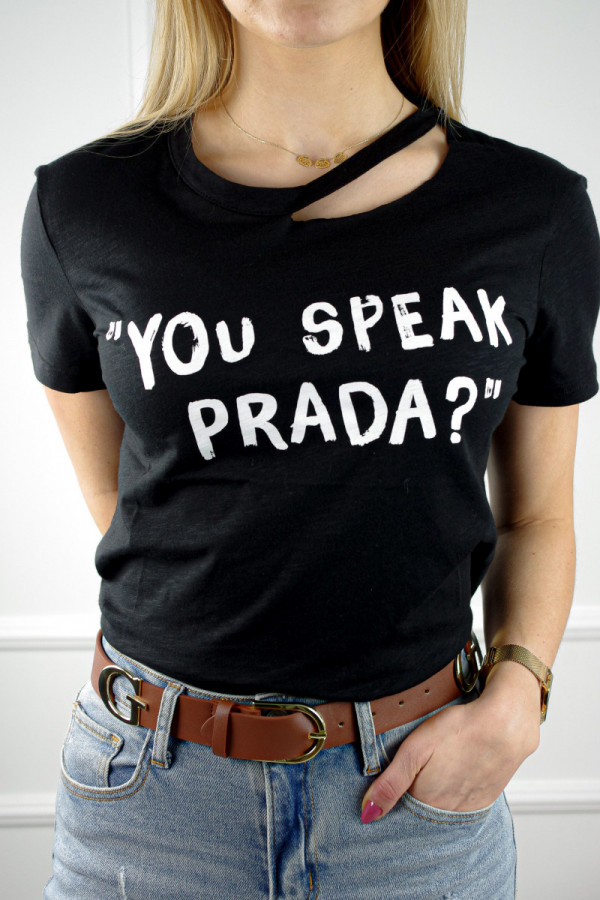 T-shirt czarny z napisem you speak prada? 1