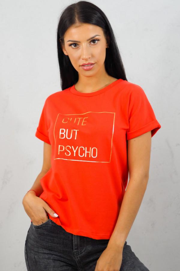 T-SHIRT Cute But Psycho Czerwony 1