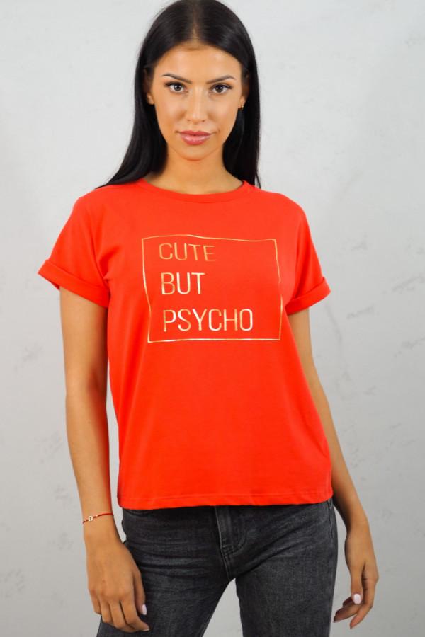 T-SHIRT Cute But Psycho Czerwony 2