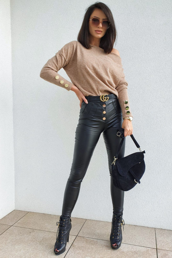 czarne spodnie woskowane z guzikami 1