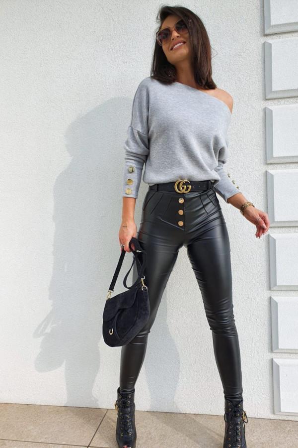 czarne spodnie woskowane z guzikami 6