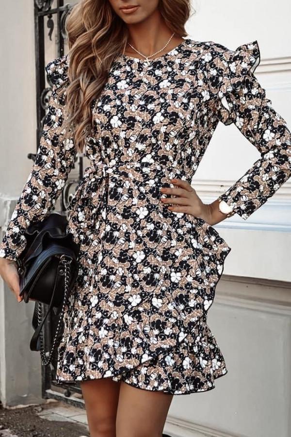 Sukienka w brązowe kwiatki