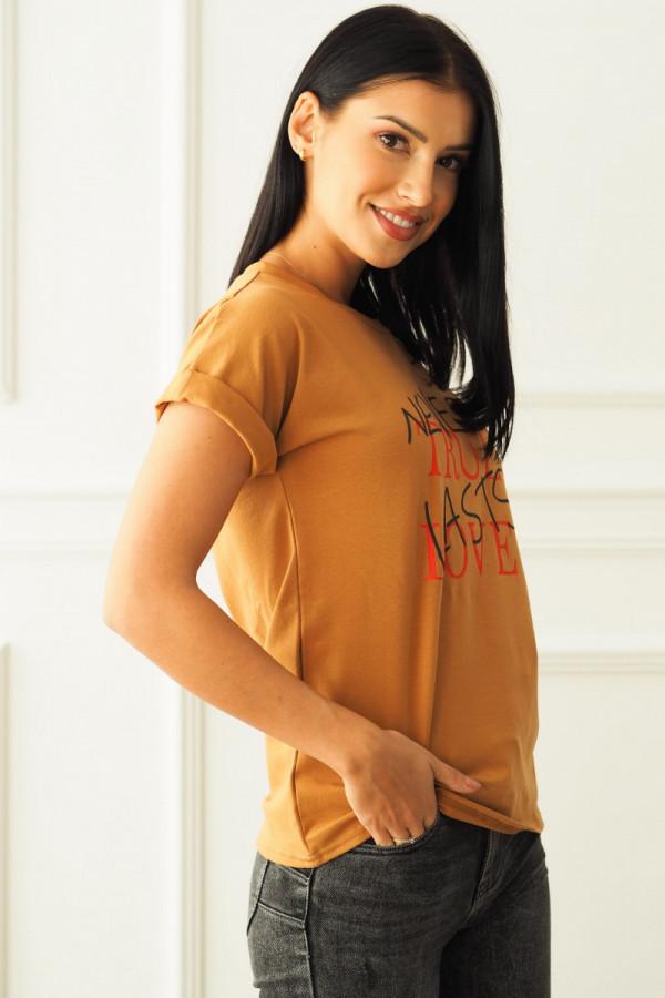 T-shirt brązowy z napisem