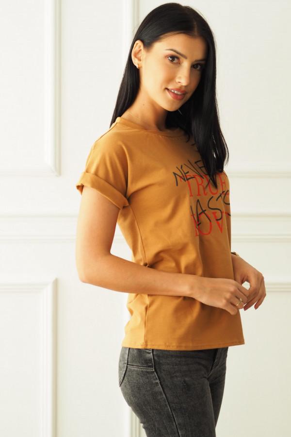 T-shirt brązowy z napisem 2