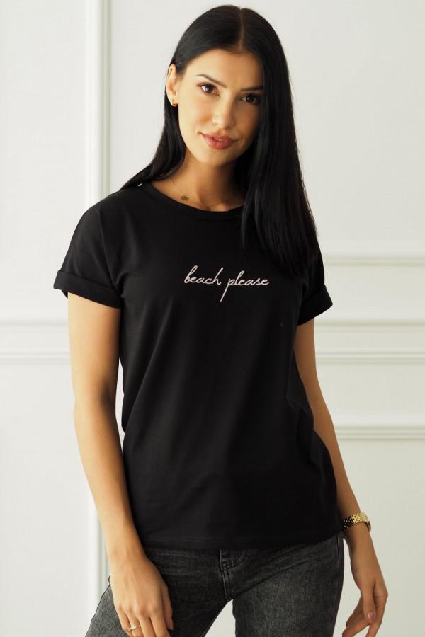 T-shirt czarny z napisem