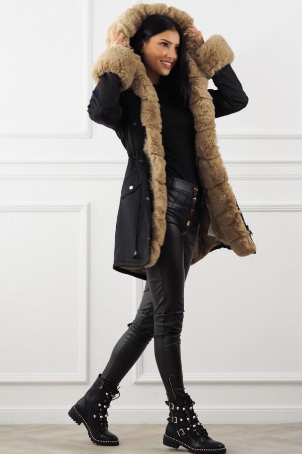 Kurtka zimowa czarna z futerkiem Dolly