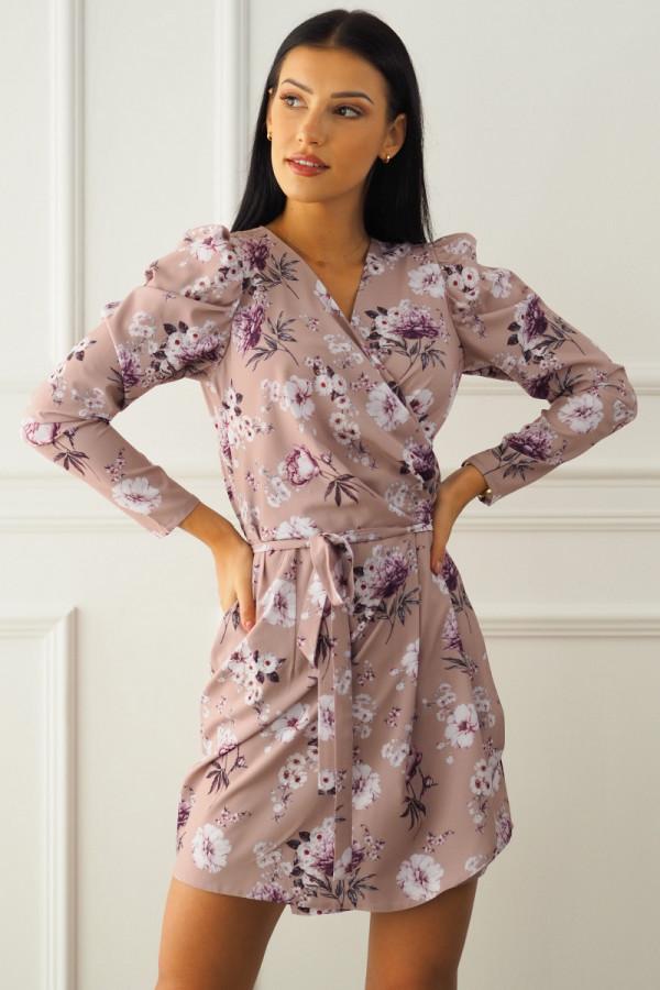 Sukienka beżowa w kwiatki 1