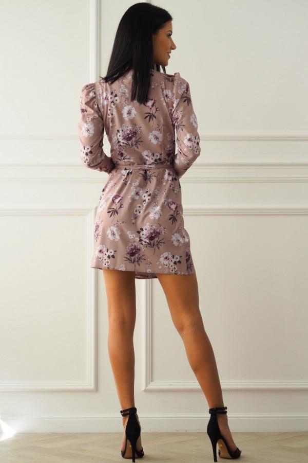 Sukienka beżowa w kwiatki 2