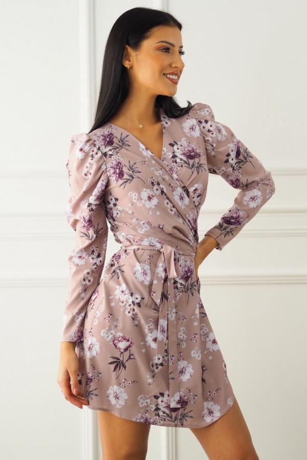 Sukienka beżowa w kwiatki 3