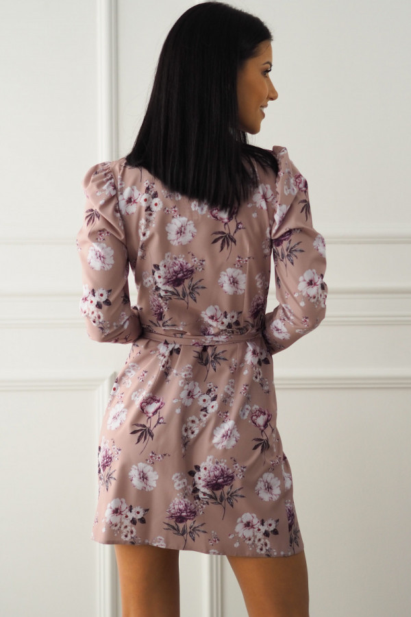 Sukienka beżowa w kwiatki 5