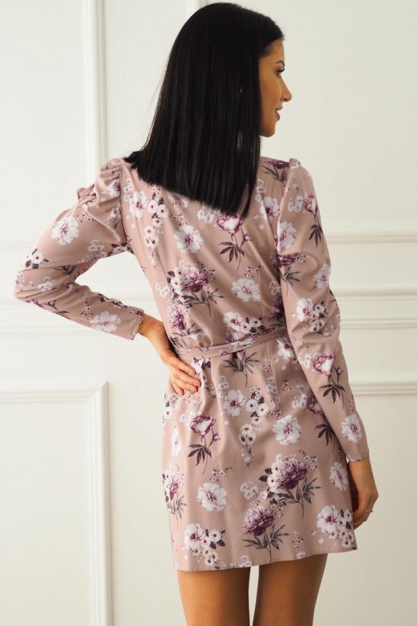 Sukienka beżowa w kwiatki 7