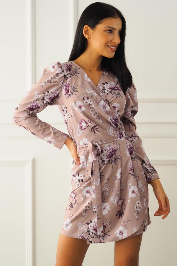 Sukienka beżowa w kwiatki 8