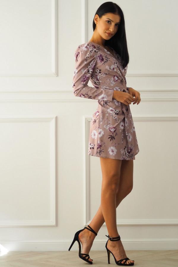 Sukienka beżowa w kwiatki 9