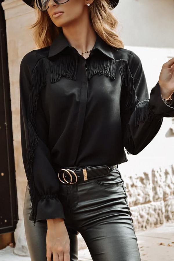 Koszula czarna z frędzlami