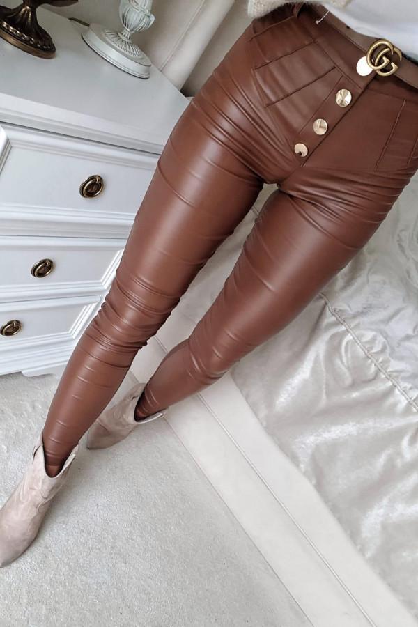 Brązowe Spodnie woskowane z guziakmi
