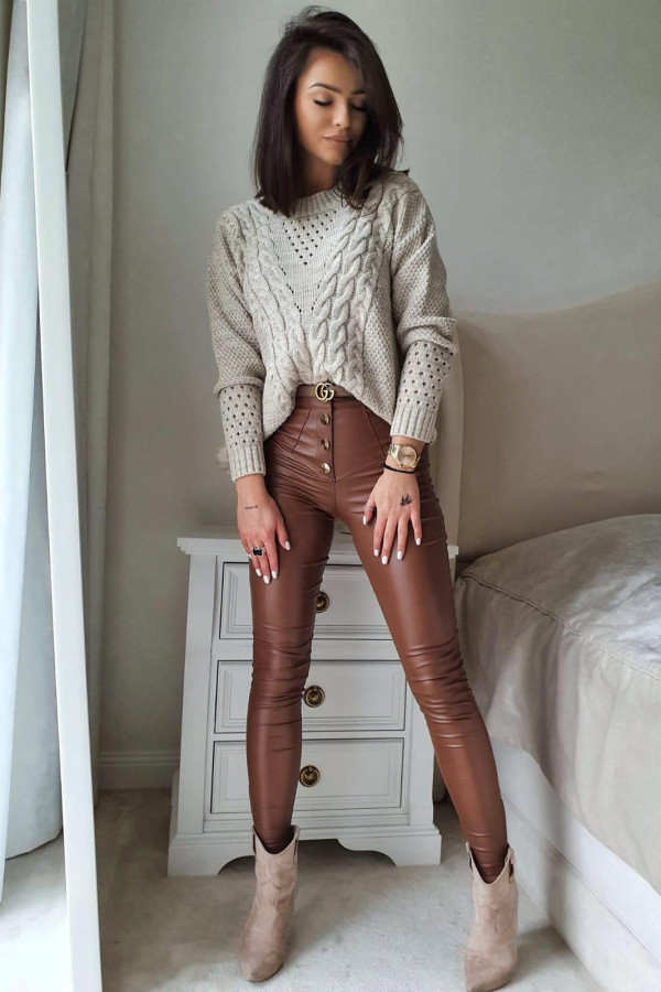 Brązowe Spodnie woskowane z guziakmi 1