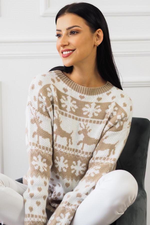 Sweter beżowy świąteczny