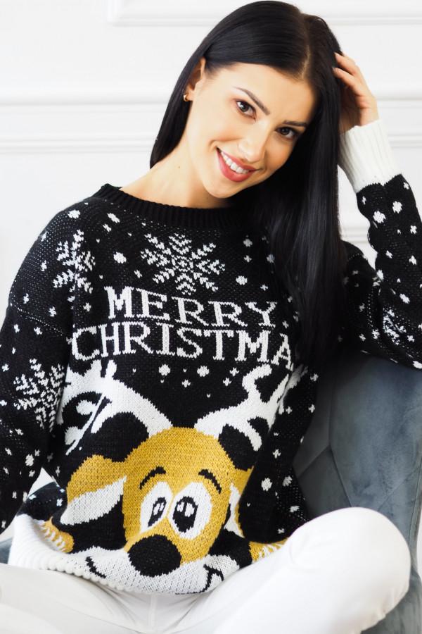 Świąteczny czarny sweter z reniferem 1