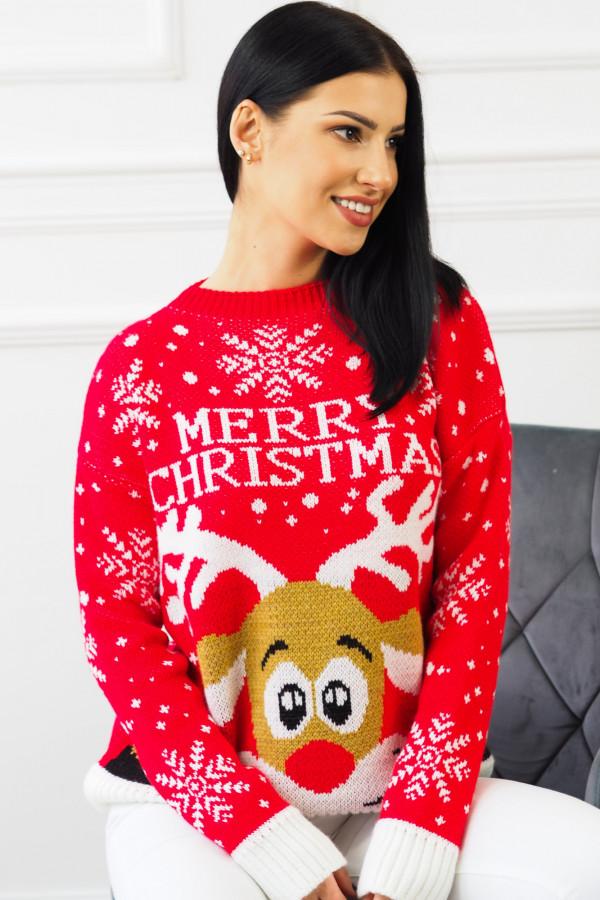 Świąteczny czerwony sweter z reniferem 6