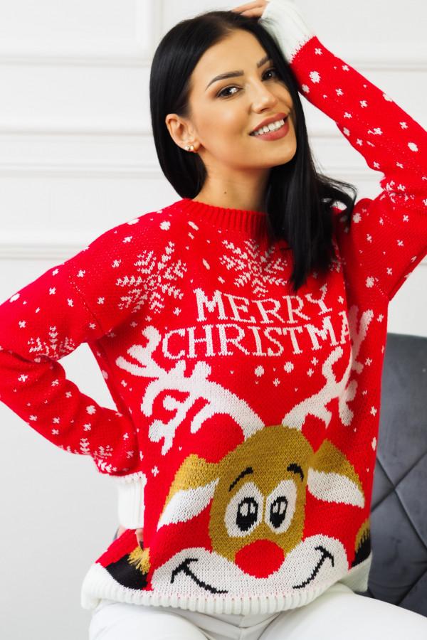 Świąteczny czerwony sweter z reniferem