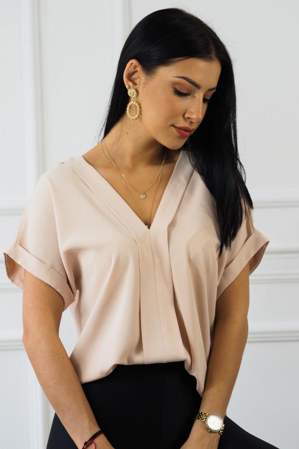Różowa bluzka z dekoltem w serek Veloni 3