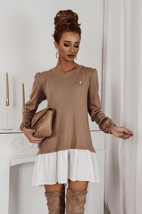 Sukienka z koszula karmel 2