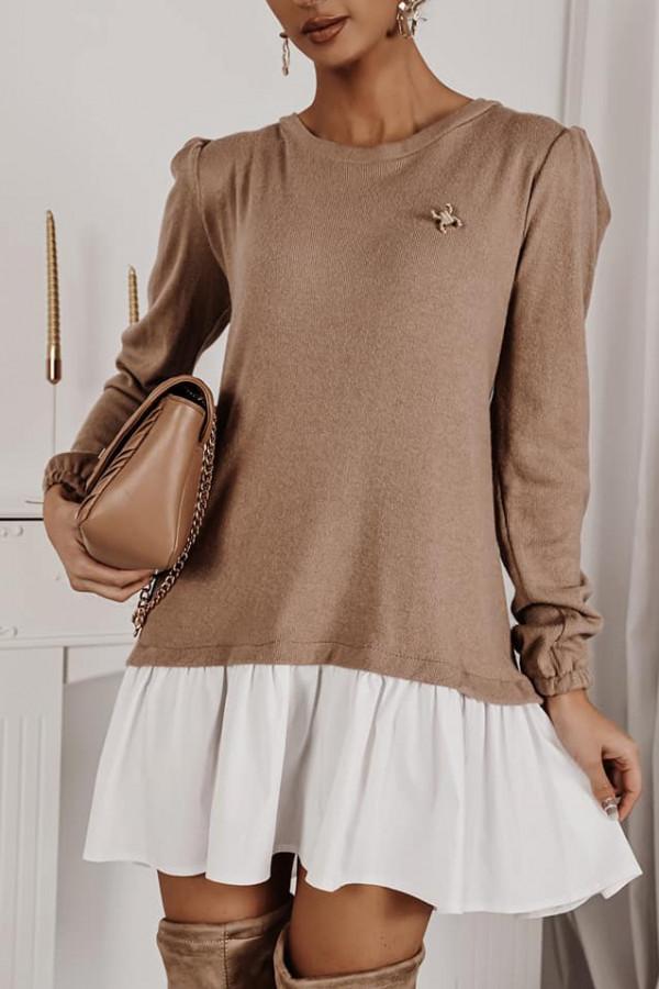 Sukienka z koszula karmel