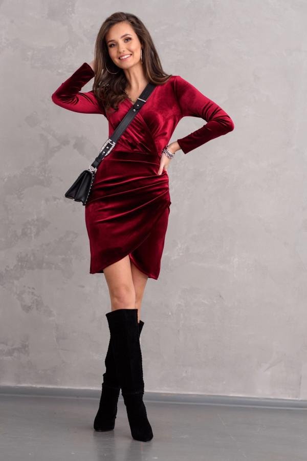 bordowa sukienka zamszowa rocki