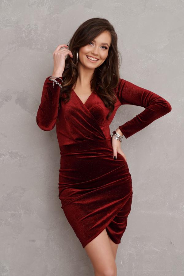 bordowa sukienka zamszowa rocki 2