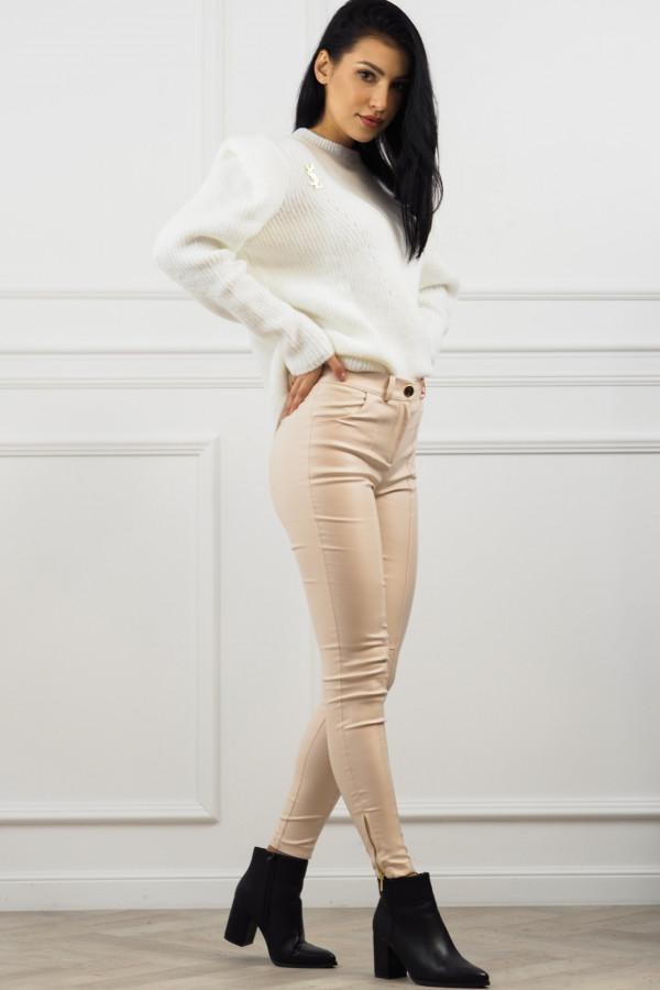 woskowane beżowe spodnie z wiązaniem 4