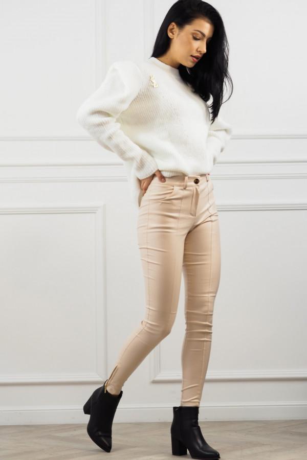 woskowane beżowe spodnie z wiązaniem 5